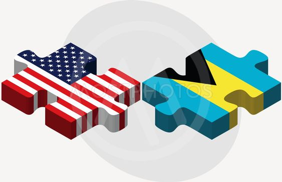 USA and Bahamas Flags in puzzle