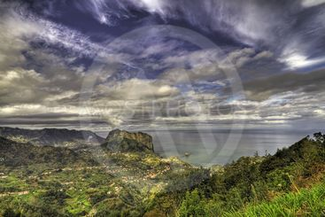 Landscape with a dramatic sky.