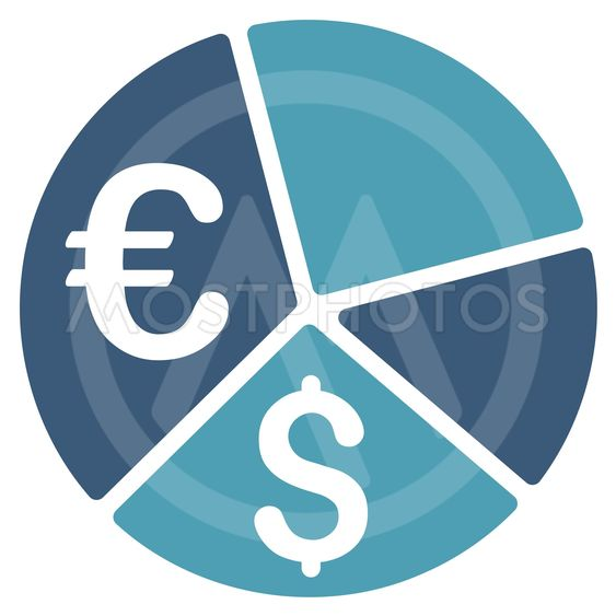Euro and Dollar Pie Chart Flat Vector Icon