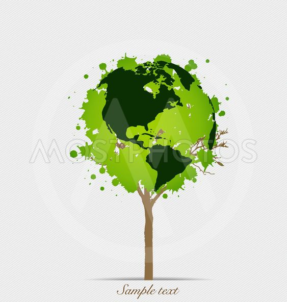 Tree shaped world map vect by teerawut masawat mostphotos tree shaped world map vector illustration gumiabroncs Image collections