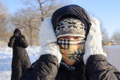 Woman freezing cold