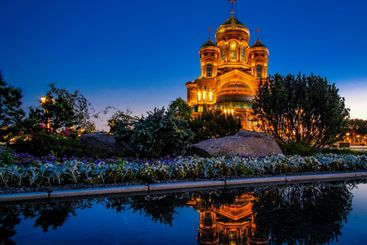 Night view of the main Orthodox church of the Russian...