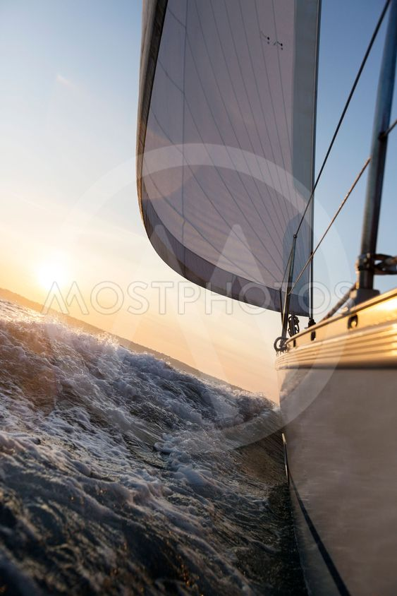 Yacht Sailing In Rough Sea