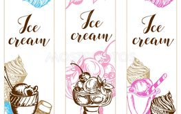 Vintage vertical backgrounds with ice cream.