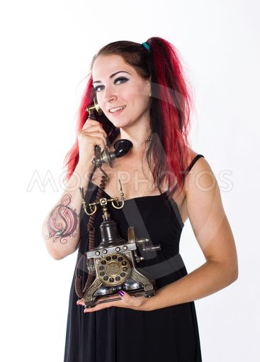 Happy Punk Girl with Antique Phone