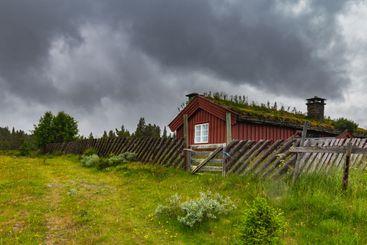 CNorwegina Cabin in bad weather in Western Norway
