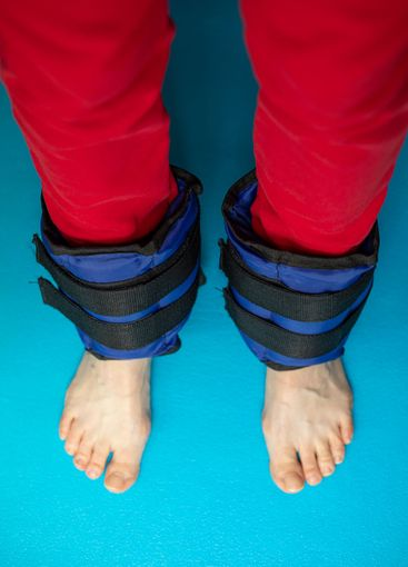 Sandbags  for exercising the muscles of the legs