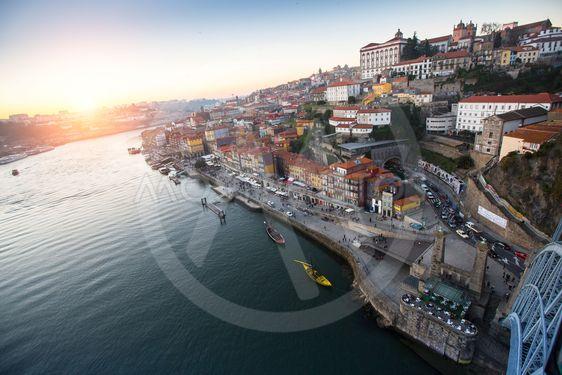 Douro river and Ribeira from Dom Luis I bridge, Porto,...