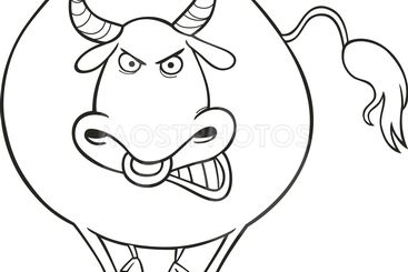 Angry bull for coloring book