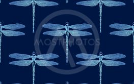 Vector seamless pattern from gradient luminous dragonfly...