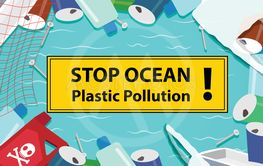 Stop ocean plastic pollution background with junk