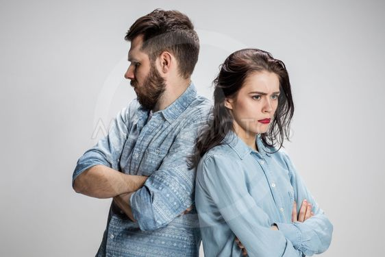 The young couple with different emotions during conflict