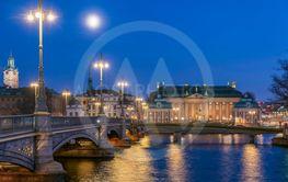 Riddarhuset och Vasabron, Stockholm  på natten