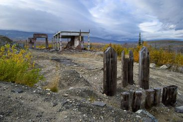 The deserted buildings. Ruins of designs