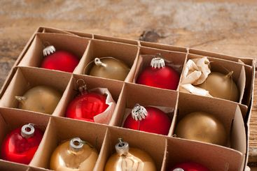 Golden and red colored christmas ornaments