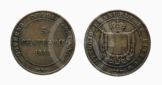 Five 5 cents Lire Savoy Copper Coin 1859 Vittorio...