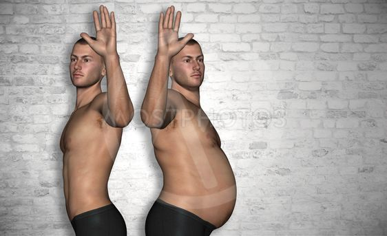 Concept or conceptual fat or overweight and slim fit...