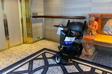 A Pride scooter rental for a handicaped person used...