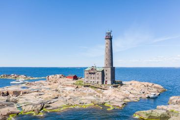 Aerial view of Bengtskär lighthouse in Gulf of Finland...