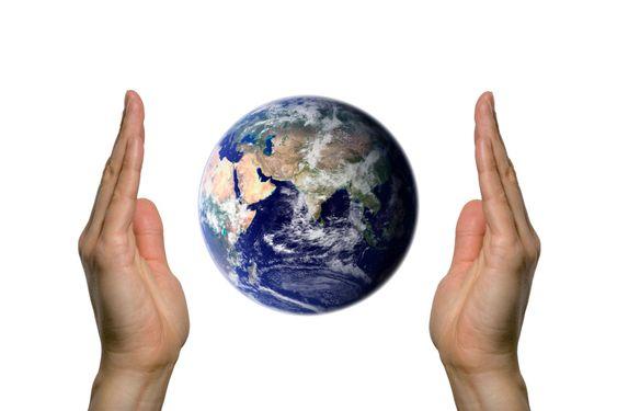 Earth between two hands 3
