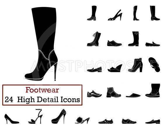 Set of 24 Footwear Icons
