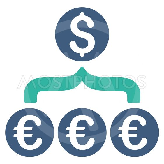 Euro Dollar Conversion Aggregator Flat Vector Icon