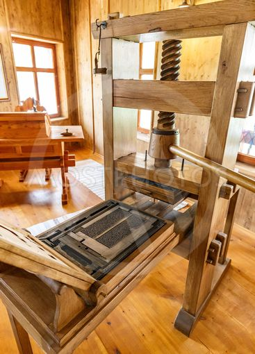 Old wooden printing press