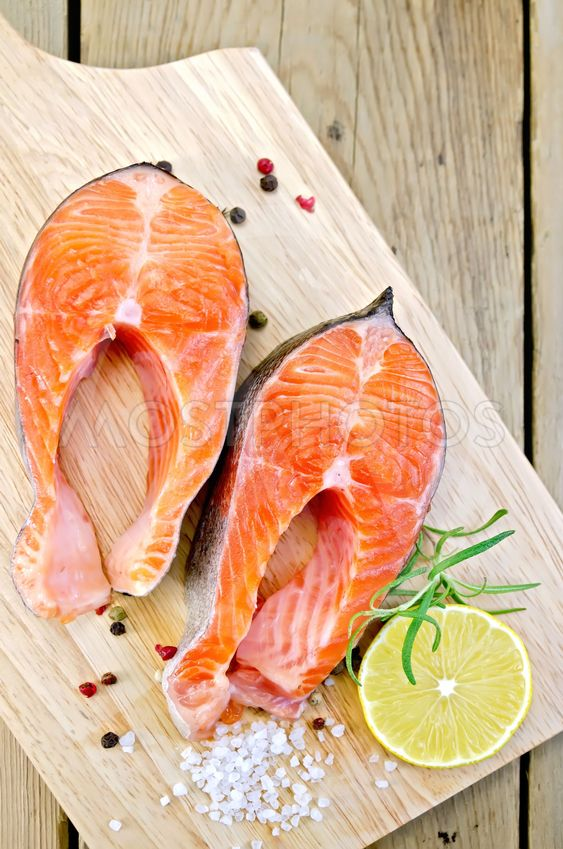 Trout on board with lemon