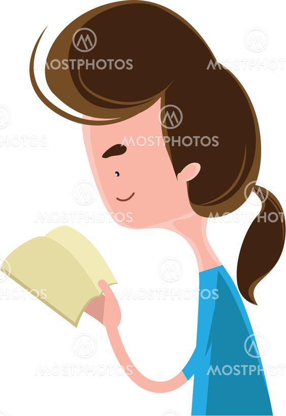 Girl reading a book vector illustration cartoon character