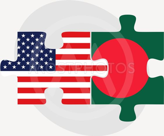 USA and Bangladesh Flags in puzzle
