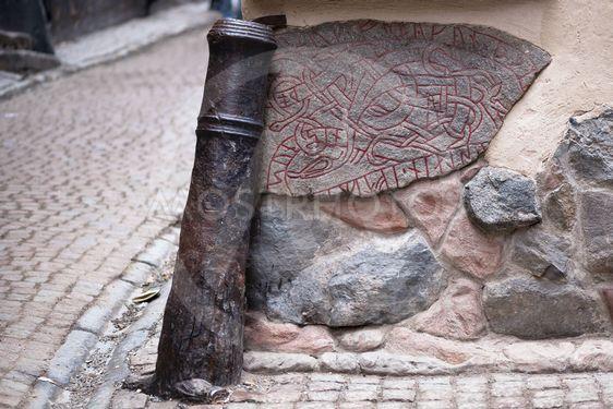 Viking Rune Stone in Gamla Stan, Stockholm Old Town