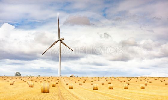 Windmill turbine in a agricultural landscape with fields...