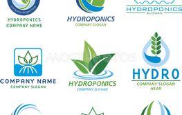Hydroponics logo set