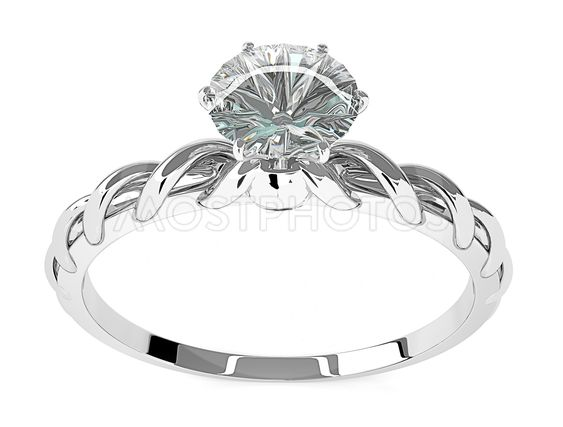 Diamond Ring On A White Bac By Chalermchai Chamnanyon
