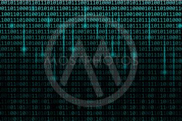 blue matrix binary code web background