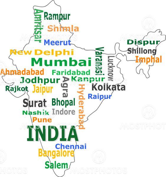 Indien Kort Og Ord Sky Med Fra Fotoscool Mostphotos