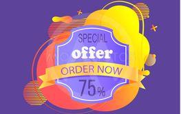 Advertising Label, 75 Percent Discount Vector