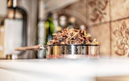 Autumn chantarelles prepared for fridge by removing...