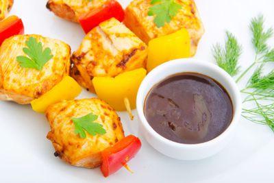 Plate with chicken kebab piecies