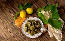 Dolmas in egg-lemon sauce (Greek cuisine)