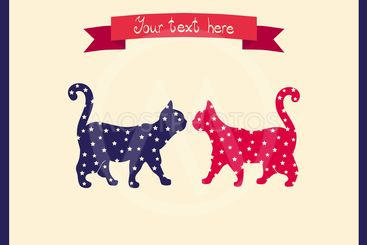 Two cats love colorful card. Can be used for postcard,...