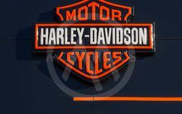 Harley-Davidson Local Signage. Close-up of Harley...