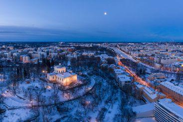 Aerial panorama view of Turku, Finland in winter
