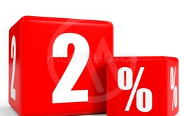 Red sale cubes. Two percent discount.