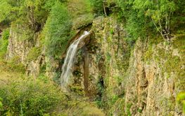 Honey waterfalls and caucasus mountains of North Caucas