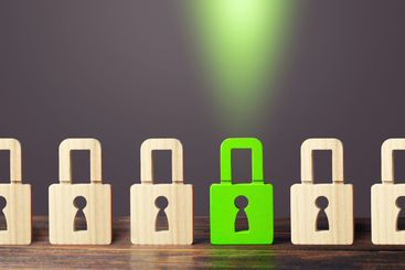 A green padlock stands out from others. Safety of...