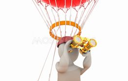 3d man with binoculars in hand on the air balloon. 3d...