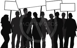 Silhouettes of people with banners