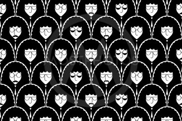 Seamless pattern with funny people faces.