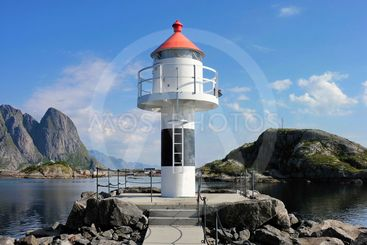 Red and white Lofoten lighthouse